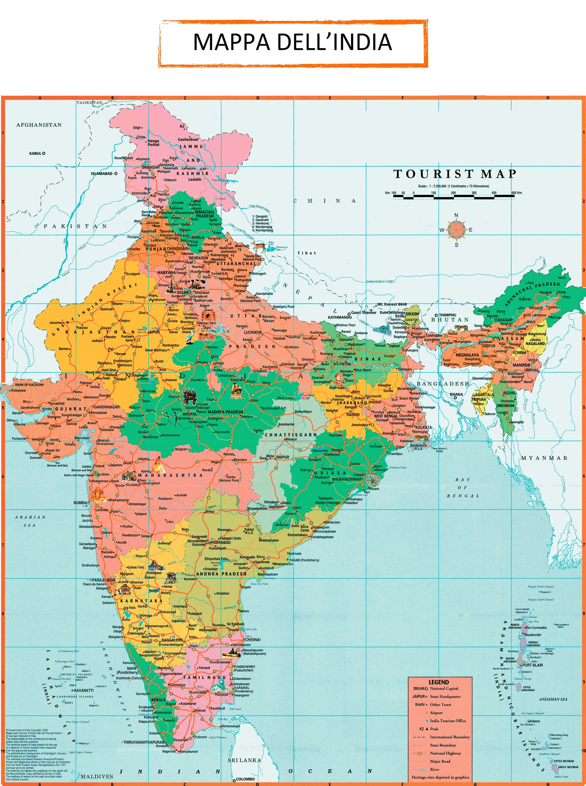 India Meridionale Cartina Geografica.India Cartina Politica Mappa Dell India Mappa India